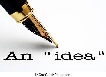 テキスト, ペン, 噴水, 考え