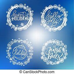 テキスト, ホリデー, とても, 陽気, 西洋ヒイラギ, クリスマス, 幸せ