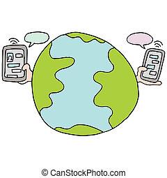 テキスト, 世界的である, サービス, メッセージ