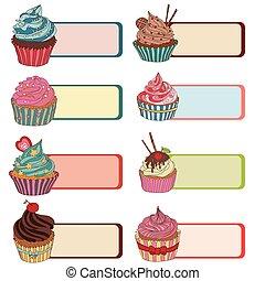 テキスト, 価格, ラベル, 書きなさい, top., タグ, cupcake.