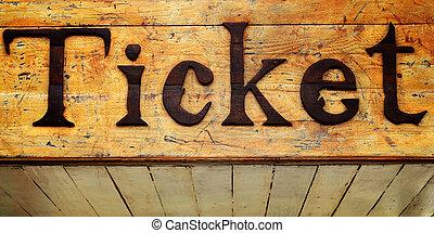 テキスト, 切符, 木製の印