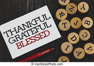 テキスト, 印, 感謝している, 態度, ペーパー, ありがたく思っている, マーカー, 木質, 感謝, ムード, ∥横に∥, 書かれた, blessed., 写真, 概念, 赤, よい, 提示, 感謝, アルファベット, 木製である, base., ラウンド