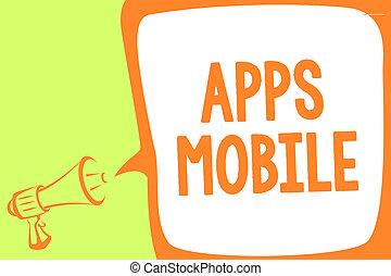 テキスト, 印, 持たれた, コンピュータメッセージ, から, 拡声器, apps, プログラム, スピーチ, 写真, 概念, メガホン, 泡, 話すこと, loud., 操業, 提示, 手, 電話, 重要, 設計された, 装置, mobile.