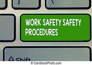 テキスト, 印, 提示, 仕事, 安全, 安全, procedures., 概念, 写真, 方法, へ, minimize, 危険, そして, 事故