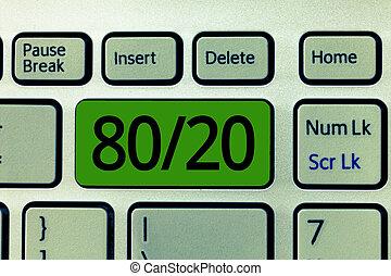 テキスト, 印, 提示, 80, 20., 概念, 写真, pareto, 原則, の, factor, sparsity, 統計上である, 分配, の, データ