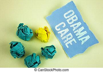 テキスト, 印, 提示, obama, care., 概念, 写真, 政府, プログラム, の, 保険, システム, 患者, protection.