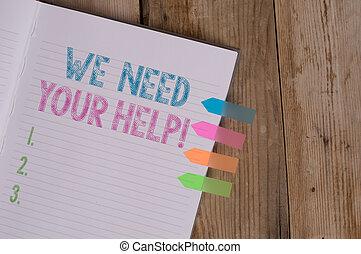 テキスト, 印, 4, 必要性, あなたの, メモ, バックグラウンド。, 本, 請求, 写真, 概念, あなた, 私達, 誰か, 提示, 困難, しまのある, メモ, 有色人種, help., に対して, 木台, 矢, 旗