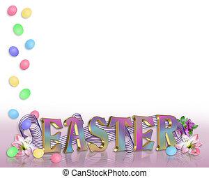 テキスト, 卵, 3d, ボーダー, イースター