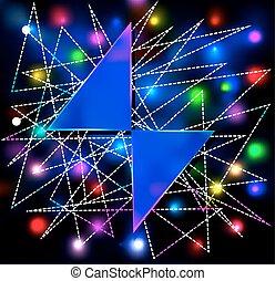 テキスト, 抽象的, ネオン, 2, 背景, 三角形, 白熱