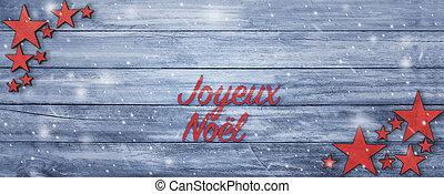 テキスト, 挨拶, フランス語, 木, テーブル, 旗, クリスマス
