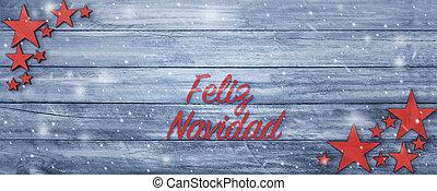 テキスト, 挨拶, 木, スペイン語, テーブル, 旗, クリスマス