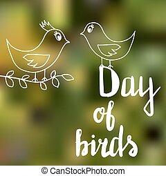 ∥, テキスト, 日, の, 鳥, 中に, 白, 手紙, 上に, a, 明るい, 夏, 緑の背景, 次に, 2羽の鳥, 1(人・つ), の, それら, 保有物, a, 小枝, 中に, ∥そ∥, くちばし