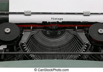 テキスト, 書かれた, タイプライター, 古い, 型