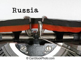 テキスト, 書かれた, ロシア, タイプライター