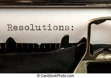 テキスト, 書かれた, 古い, resolutions, タイプライター