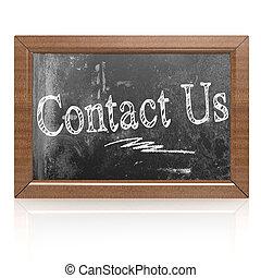 テキスト, 書かれた, 私達に連絡しなさい, 黒板