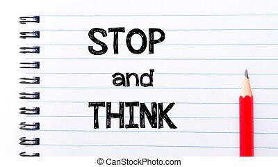 テキスト, 止まれ, 考えなさい, 書かれた, ノート, ページ