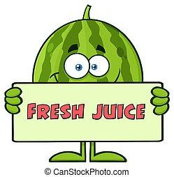 テキスト, 特徴, 緑, ジュース, フルーツ, スイカ, 保有物, 新たに, 微笑, 旗, 漫画, マスコット