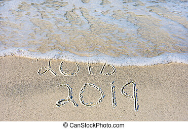テキスト, 砂, 2019, 年, 新しい, 浜