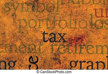 テキスト, 税, グランジ, 背景