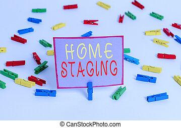 テキスト, 行為, 私用, 有色人種, 写真, ビジネス, ペーパー, 家, セール, 白, オフィス。, 手, 住宅, clothespin, staging., 市場, メモ, 概念, 空, 執筆, 準備, 床, 提示