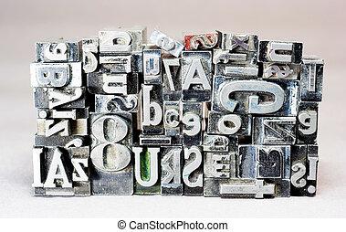 テキスト, 金属, 活版印刷, typeset, 時代遅れ, 印刷機, タイプ