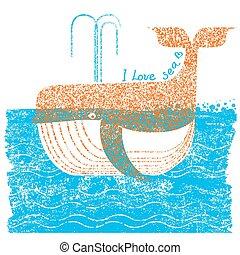 テキスト, 青クジラ, イラスト, 海, ベクトル, バックグラウンド。