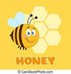 テキスト, 飛行, 特徴, 蜂, 前部, ハニカム, 漫画, 幸せ