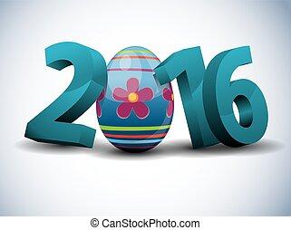 テキスト, -, 3d, 2016, 卵, イースター