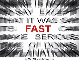 テキスト, blured, フォーカス, 速い