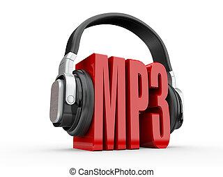 テキスト, mp3, そして, handphones., 3d