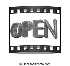 """テキスト, """"open"""", 赤, 3d"""