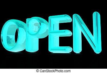"""テキスト, """"open"""", 3d"""