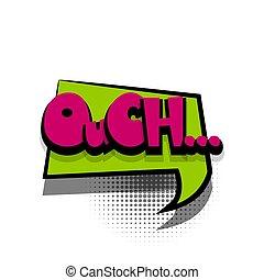 テキスト, ouch, スピーチ, 句, 漫画, 泡