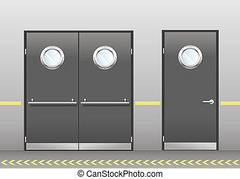 テクニカル, セット, ドア, ポートホール