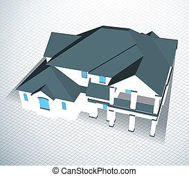 テクニカル, ドロー, ベクトル, house., 建築である