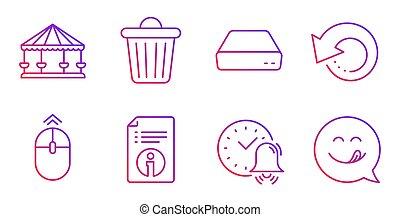 テクニカル, 大箱, インフォメーション, set., 屑, signs., データ, アイコン, pc, 回復, ミニ, 強打, 回転木馬, の上, ベクトル