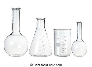 テスト管, 実験室 ガラス製品, 隔離された, white.