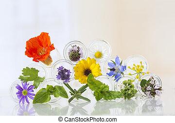 テスト管, 白い花, 隔離された