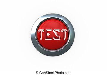 テスト, 上に, ディジタル方式で生成された, 赤, 押しボタン
