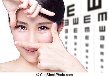 テスト, 女性の目, チャート