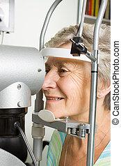 テスト, 女性, 目, 持つこと, 検査