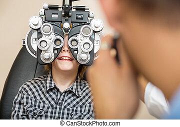 テスト, 男の子, 目, phoropter, 経ること