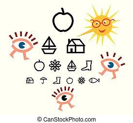 テスト, children., optometry