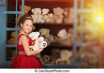 テディベア, 抱き合う, 女の子, 服, 赤