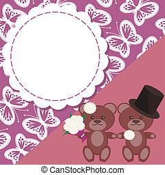 テディ, カード, 結婚式, 熊, 2