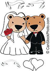 テディ, セット, 漫画, 熊, 結婚式