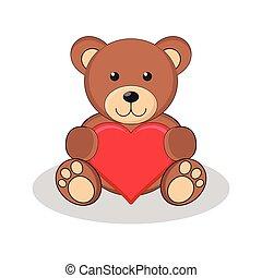 テディ, 保有物, 熊, かわいい, ブラウン, 赤, heart.
