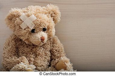 テディ, 包帯, 熊, 木製の床