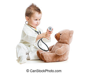 テディ, 医者, 隔離された, 熊, 遊び, 聴診器, 子供, 白, ∥あるいは∥, 子供